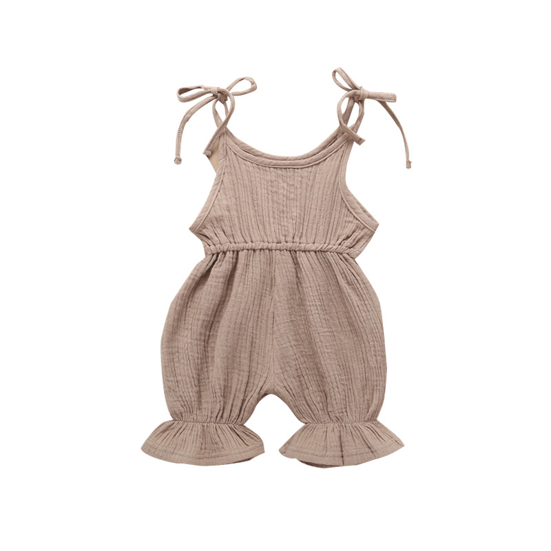 Cute Baby Girl Ruffle Solid Color Linen Romper Jumpsuit Outfits Sunsuit for Newborn Infant Children Clothes Kid Clothing in Rompers from Mother Kids