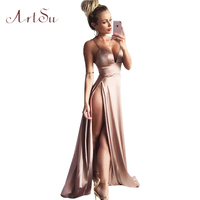 ArtSu Women Satin Long Dresses 2017 Summer Club Party Vestidos Sexy Split Elegant Maxi Dress Slim Spaghetti Strap Robe ASDR30115