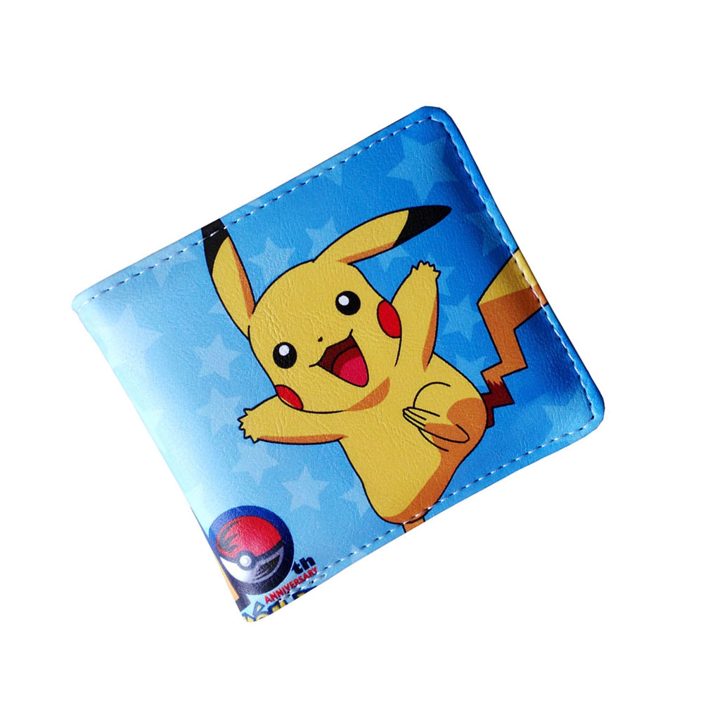 Hot Sale Anime Pikachu Pocket Monster Colorful Folding Wallet/Pikachu High Quality Short PU Purse japanese anime detective conan folding wallet high quality short pu purse