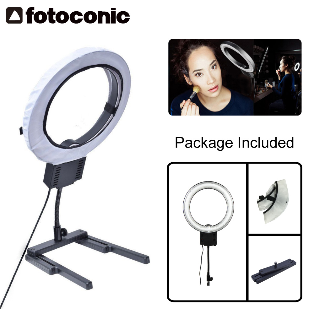 Studio 40W 5400K Photo Diva Ring Light with Diffuser + Flexible Table Top Base Stand for Makeup Youtube Video Photo Lights softorbits softskin photo makeup домашний фотомакияж цифровая версия page 1