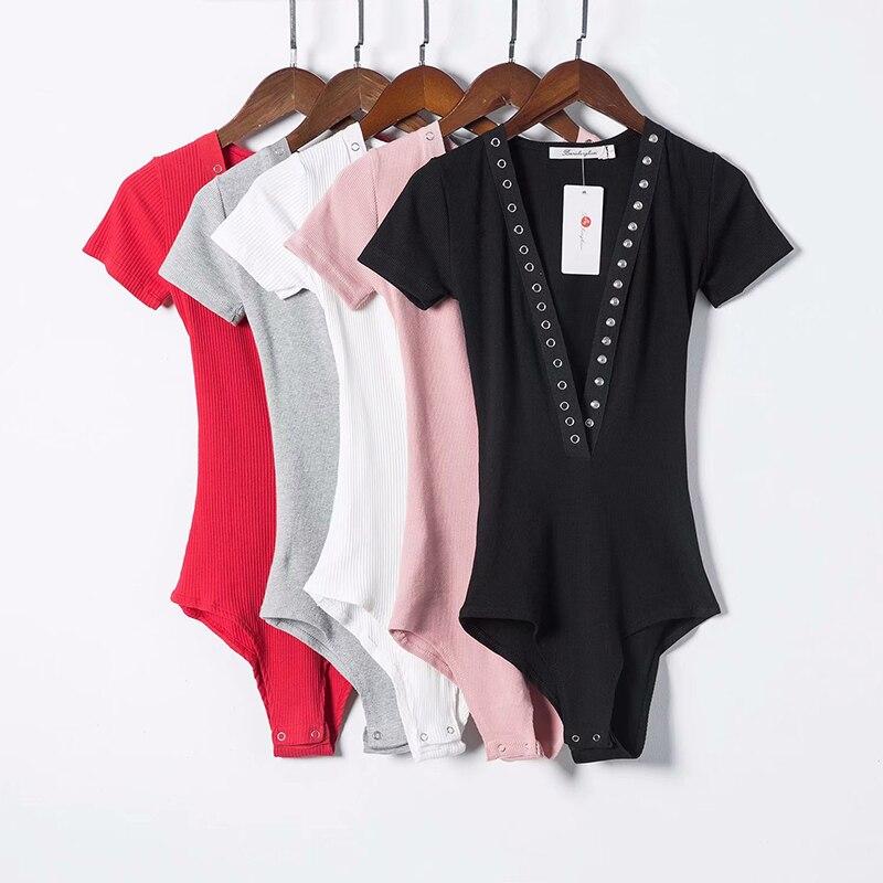 2018 New Arrivalls 4 Colors Button Deep V Collar Tight Elastic Thread Fabric Knit Women Bodysuit D083