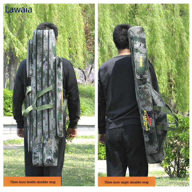 Lawaia Portable Fishing Bag Water Resistant Pole Two Three Layers Gear Package
