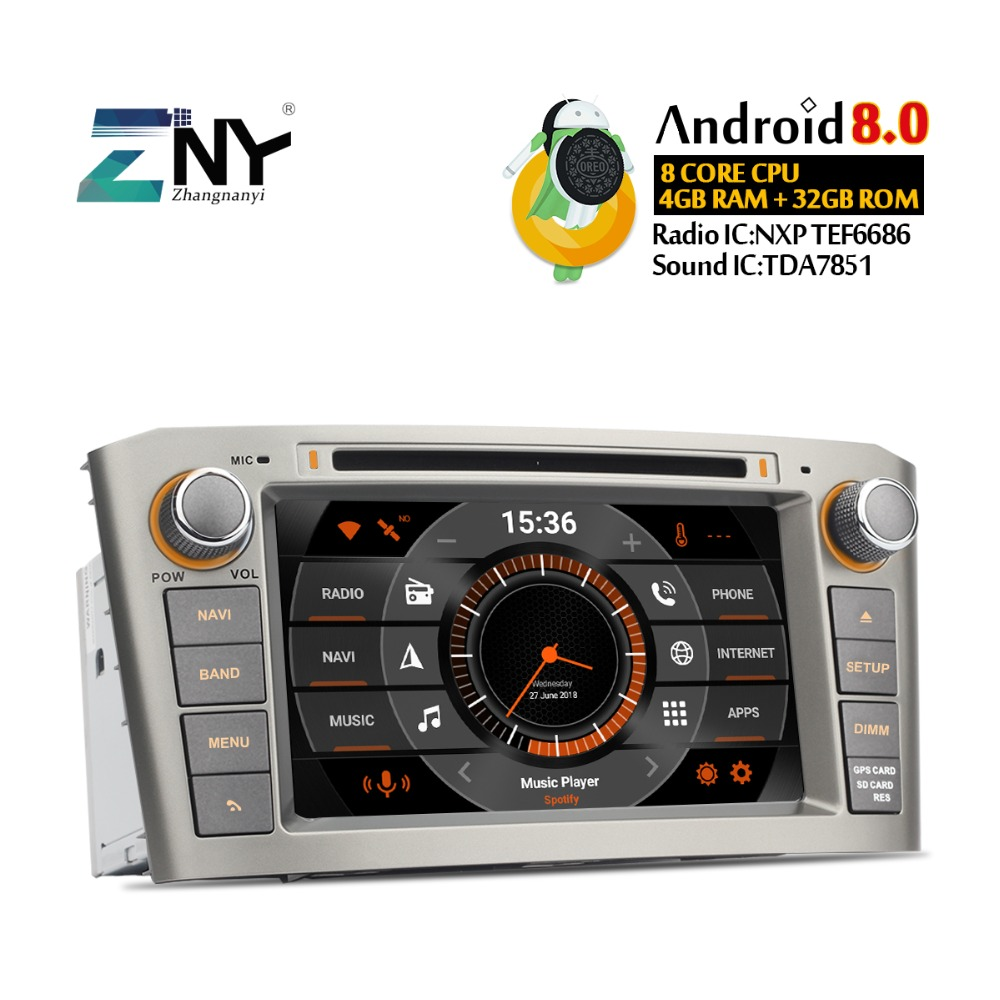 "7"" IPS Android 9.0 Auto GPS Radio For Avensis T25 2003 2004 2005 2006 2007 2008 Car DVD Audio Video FM WiFi Navigation System"