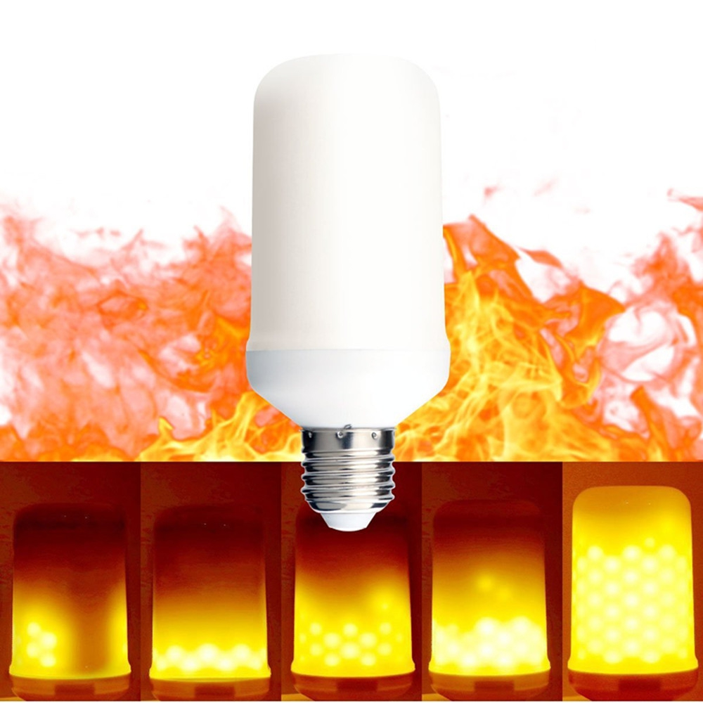 LED Flame Effect Fire Light Bulbs 2 modes Creative with Flickering Emulation Lamp E27 Flickering Emulation LED Flame Bulb Light e27 led flame lamp candle bulb e26 dc12v creative smd2835 led flame effect fire lamp e14 two modes atmosphere light christmas