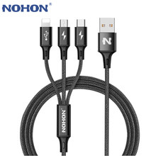 Originele NOHON 3 IN 1 Usb-kabel Voor iPhone 8X7 6 6S Plus 5 5 5S Samsung xiaomi Lenovo 2 IN 1 Micro Type C Quick Charge Kabels(China)