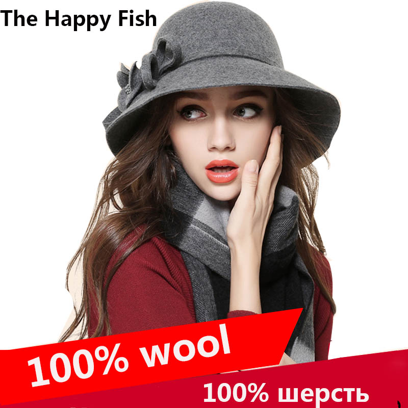 Charming  ! Women Fedora Hat for Woman Fedora Hats Wide Brim hat Wool Floral