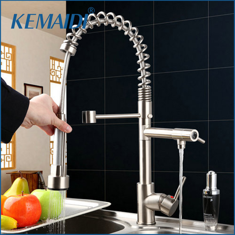 KEMAIDI Nickel Brushed Kitchen Faucet Pull Out&Down Swivel 360 Spout 8525-3 Brass Vessel Water Torneira Cozinha Sink Mixer Tap golden brass kitchen faucet dual handles vessel sink mixer tap swivel spout w pure water tap