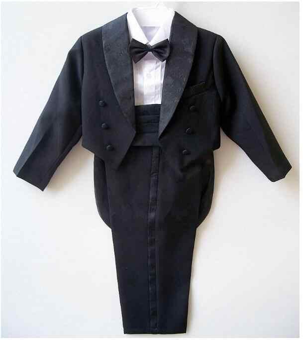 DHL8/Groothandel Baby jongen smoking pak voor bruiloft kind blazer kleding set 5 stks: jas + vest + shirt + tie + broek jongen formele d