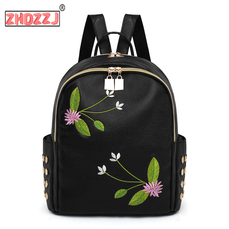 Backpacks Women Shoulder Bags 2019 Casual Travel PU National Embroidery School Bag Females Fashion Backpack For Teenage Girls