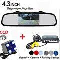 3in1 Автомобилей Система Парковки Помощь Датчик Заднего Хода Резервное копирование Радар Видео Подключить 4.3 Дюймов Автомобильный Монитор и ПЗС-Камеры Заднего Вида