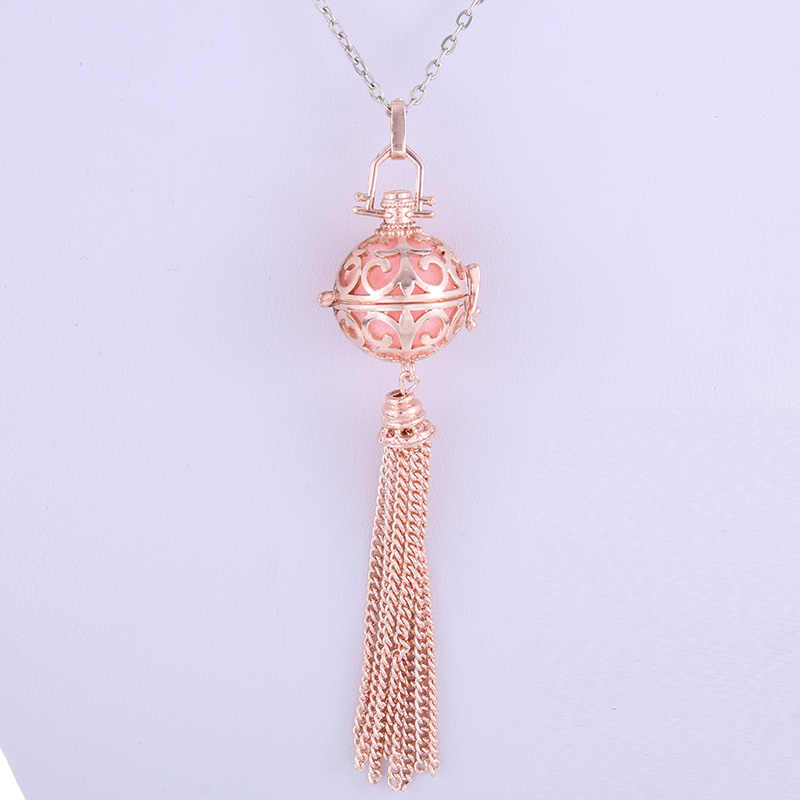 Rose gold Tassels Cage Locket Chime Ball Pendant Essential Oil Diffuser Chain Necklacewomens Charms Aromatherapy Jewelry