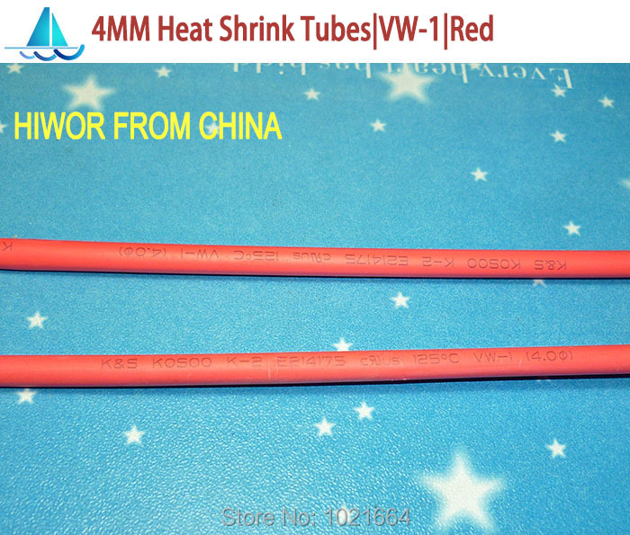 10meters lot 4MM Red Heat Shrink Tubes Shrinkable Tubing Insulation Sleeving