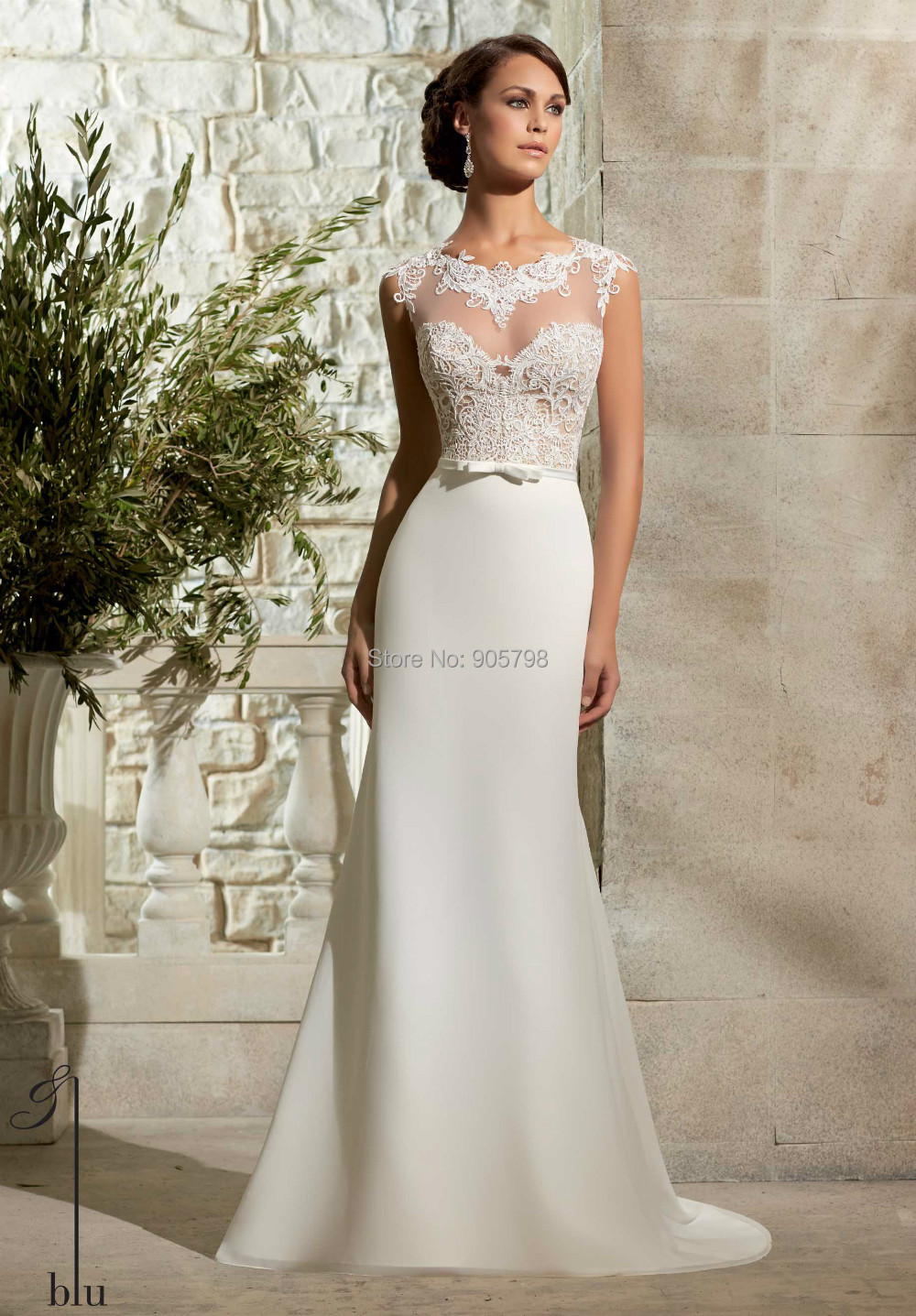 2015 Europe Style See Through Bodice Lace Appliqued Chiffon Mermaid Style  Wedding Dress In Wedding Dresses From Weddings U0026 Events On Aliexpress.com  ...