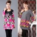 Quincuagenario camiseta de la largo-manga más la ropa del tamaño medio-largo flojo de la camisa básica de primavera y otoño