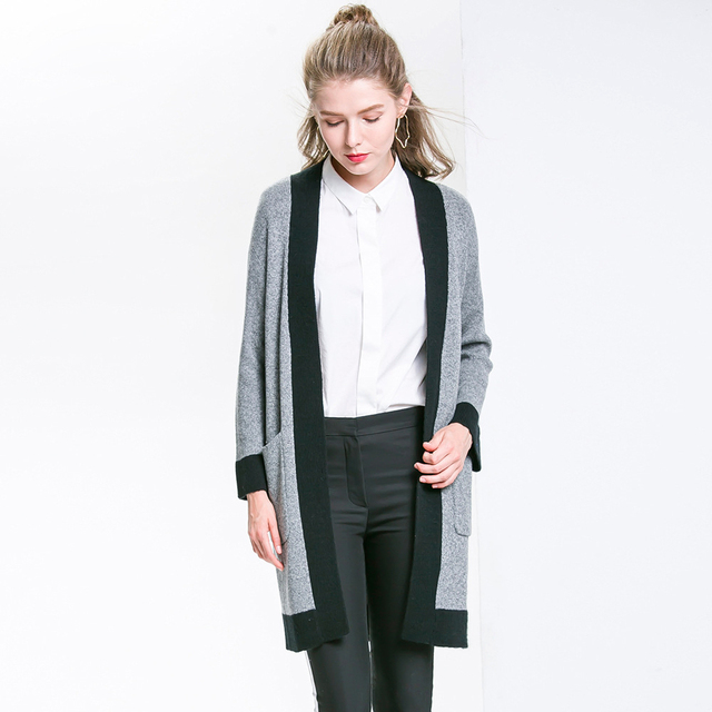 Women Knitted Overcoat Fashion Grey Long Cotton Cardigans Casual ...