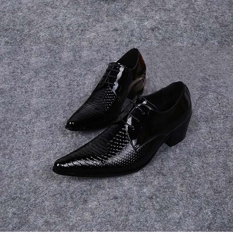 все цены на New mens genuine leather business dress shoes men pointed toe lace up high heel snake suit wedding shoes high quality work shoes