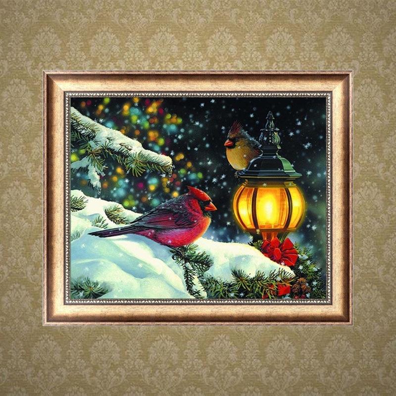 Christmas DIY 5D Diamond Painting Birds In Night Elf On The Shelf Broderie Diamant Diamante Hand Embroidery Cross Stitch Kits