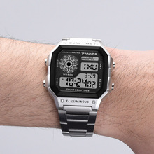 ab4cd3ae22e Prevalecer Relojes Deportivos Homens Relógio Digital Retro Ouro Aço  Inoxidável Relógio Eletrônico PANARS S Choque Cronômetro