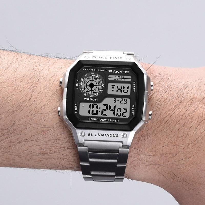 8eca8475b5d Prevalecer Relojes Deportivos Homens Relógio Digital Retro Ouro Aço  Inoxidável Relógio Eletrônico PANARS S Choque Cronômetro Do Esporte da  Aptidão em ...