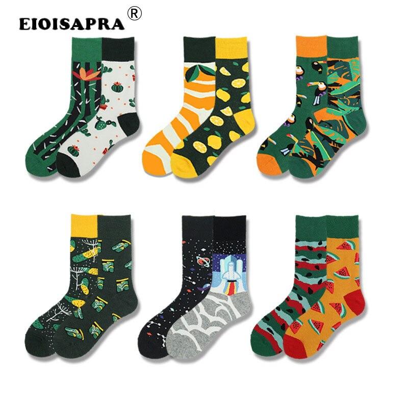 Harajuku Art Fashion Jacquard Happy   Socks   Plant Fruit Cactus Watermelon Animal Parrot Planet Pattern Hip Hop Funny Unisex   Socks