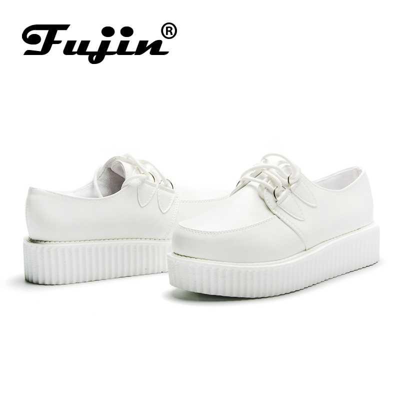 Fujin/Брендовая обувь из искусственной кожи на толстой подошве; сезон осень; большие размеры 35-41; женские лоферы; женские мокасины на платформе; 2019; женская обувь на плоской подошве