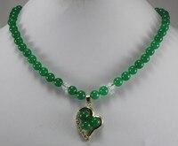 wholesale 18 dark green jade necklace & 18kgp heart inlay 3 jade beads pendant nacklace