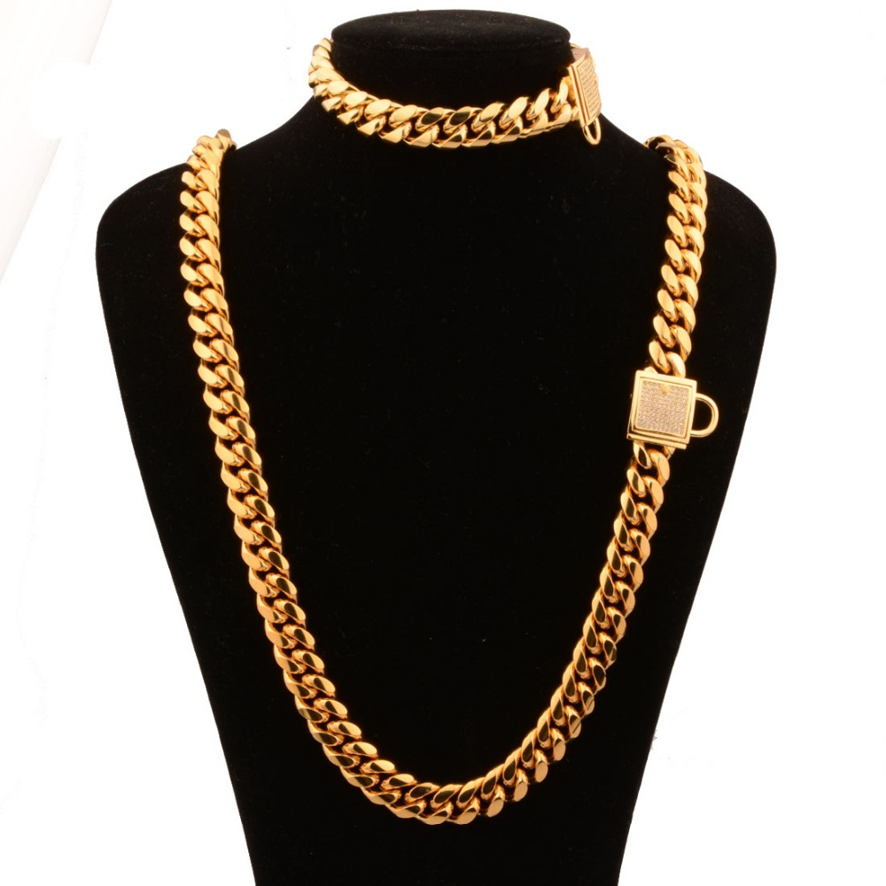 все цены на 14MM Fashion 316L Stainless Steel Gold Tone Miami Cuban Curb Link Chain Men's Unisexs Necklace 24