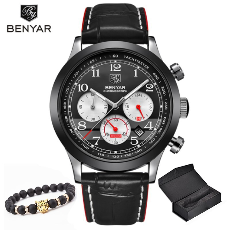 Benyar Watches Men Luxury Brand Multifunction Quartz Mens Sport Wristwatch Dive 30m Casual Leather Watch Relogio Masculino harphia 3 colors divider craft separate page white simple but good match for 6 holes loose leaf notebook agenda planner filofax