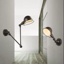 LED European retro free retractable staircase lamp living room bedroom bedside indoor lighting home corridor loft wall lamp недорого