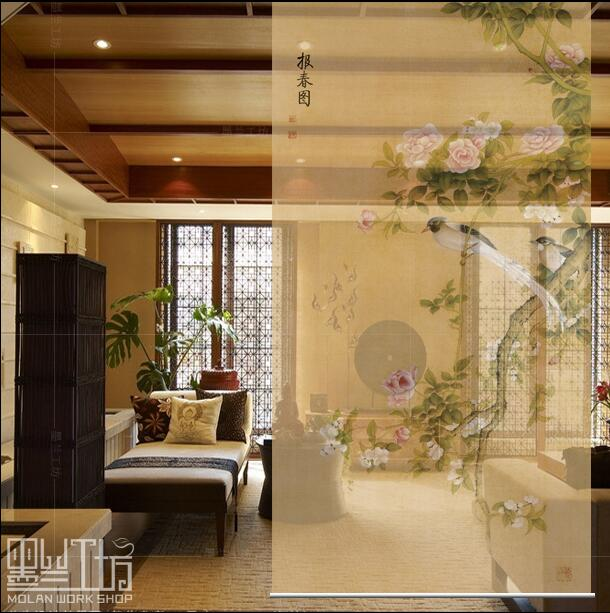 New Chinese Style Hanging Screen Soft Cut Entrance Shutter Door Curtain  Creative Roller Biombo Spring Partition