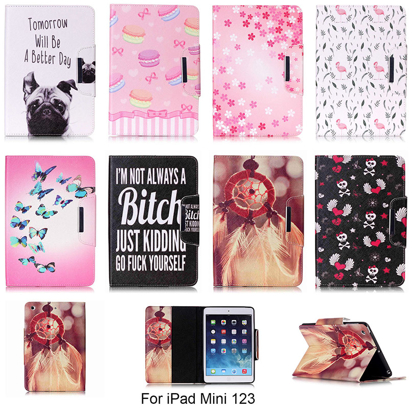 Fashion Cartoon Dog Butterfly Flower Pattern Case For Apple iPad mini 1 2 3 7.9 PU Leather Flip Tablet Shell For iPad mini 123