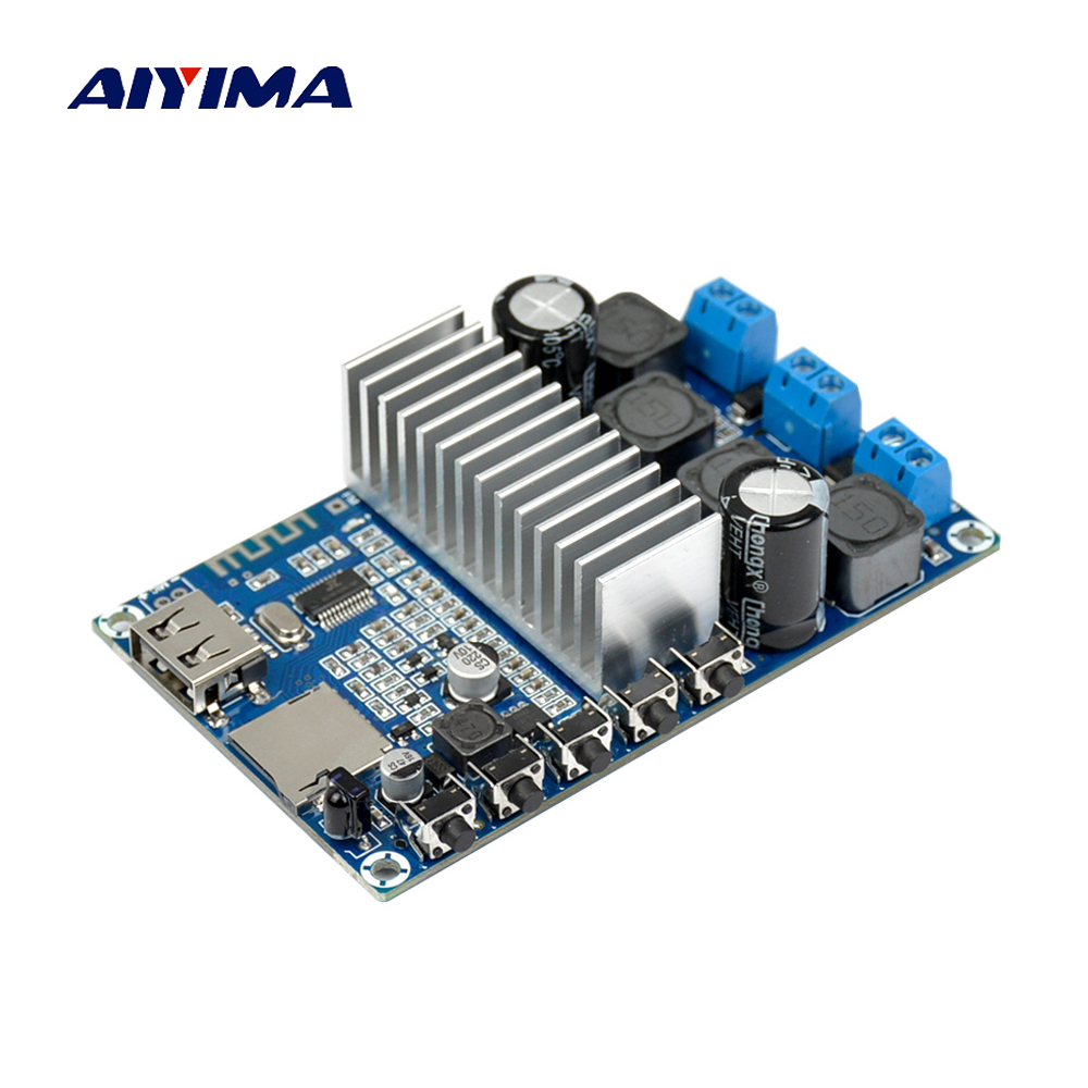 Aiyima Newest TPA3116D2 2.0 Bluetooth 4.2 Amplifier Board 50W*2 FM Radio USB Decode WMA MP3 Calls Bluetooth Receive Board