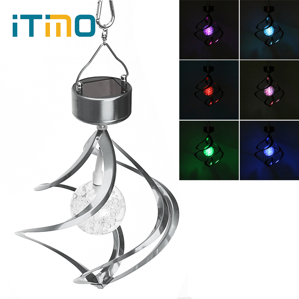 Wind Spinner Solar Galaxy Light Wind Chimes Outdoor Lighting Crystal Ball Stainless Steel Garden Decoration RGB Color Changing