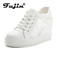 Fujin Brand 2017 Lace Mesh Summer Autumn Women Wedge Shoes Breathable Platform Pumps With Wedges Heel