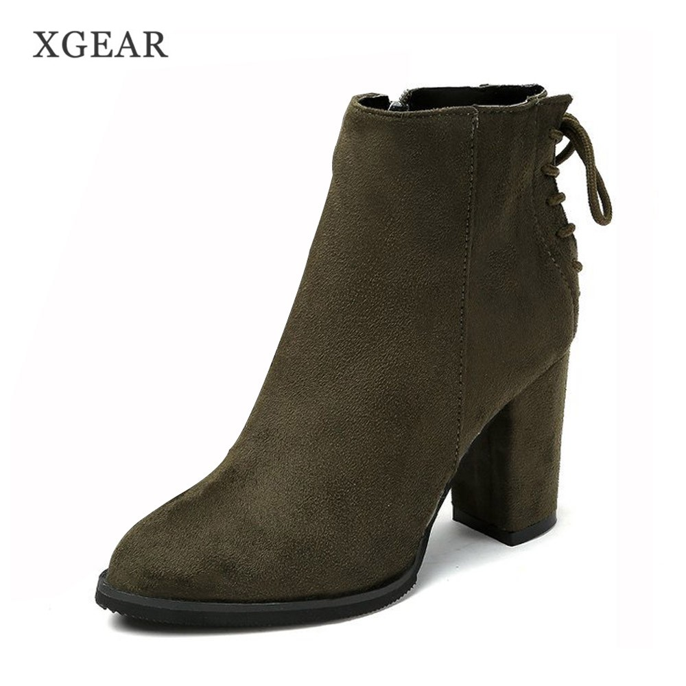 XGEAR 2017 New Winter Boots Female Pointed Toe Ankle Boots