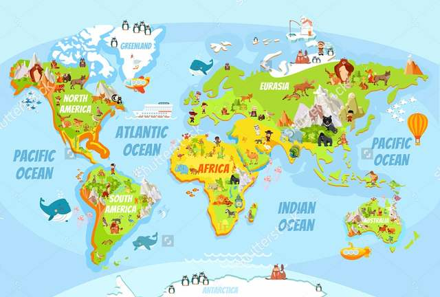 Us 111 63 Offcustomized Childrens Wallpapercartoon World Map With A Lot Of Funny Animals For Living Room Kids Room Background Wallpaper In