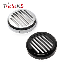 Triclicks Car Styling Chrome Round Horn Covers New ABS Plastic 93mm Shadow Sabre Motorcycle Slotted Grille Cover For Honda