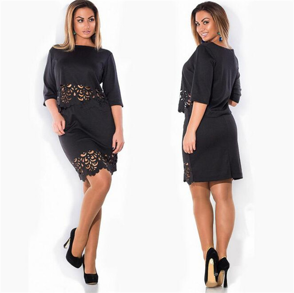 New-Summer-Women-Elegant-2-Piece-Set-Plus-Size-O-neck-Half-Sleeve-Women-Hollow-Out (1)