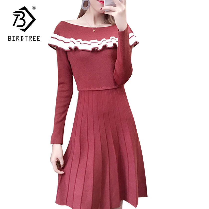 Winter Women White Sweaters Ruffles 2017 Fashion Ruffled Basic Mini Solid Color Knitted Dresses New Autumn Soft Dresses D7N409A