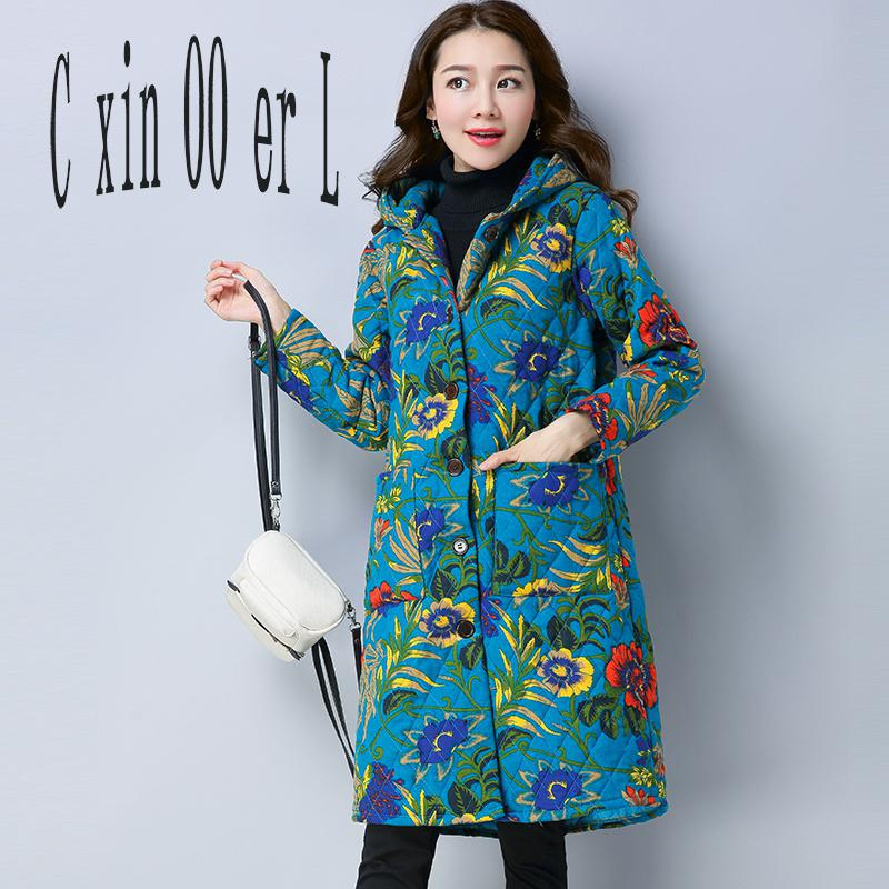 Women Winter Coats 2017 New Folk Style Parka Women Retro Printing Long Outerwear Womens Coat Sleeve Hooded Slim Cotton Jackets