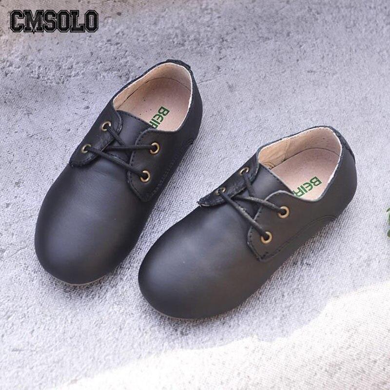 CMSOLO enfants chaussures mode mocassins populaire en cuir noir blanc daim marron gris Style filles garçons marche chaussures enfants