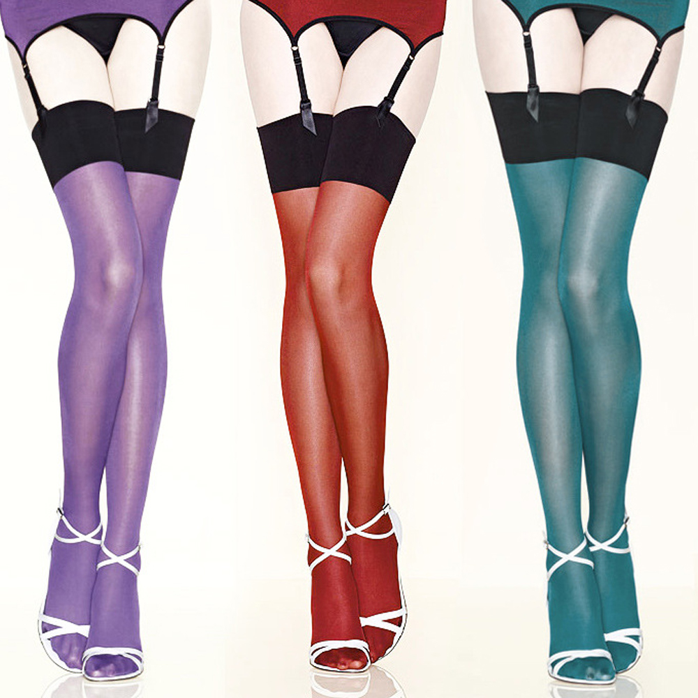 Sexy Oil Shine Retro Contrast Color 30 Den Stockings with 13cm Rib Top for Women Thin Elastic and Soft Material Plus Size FX1007