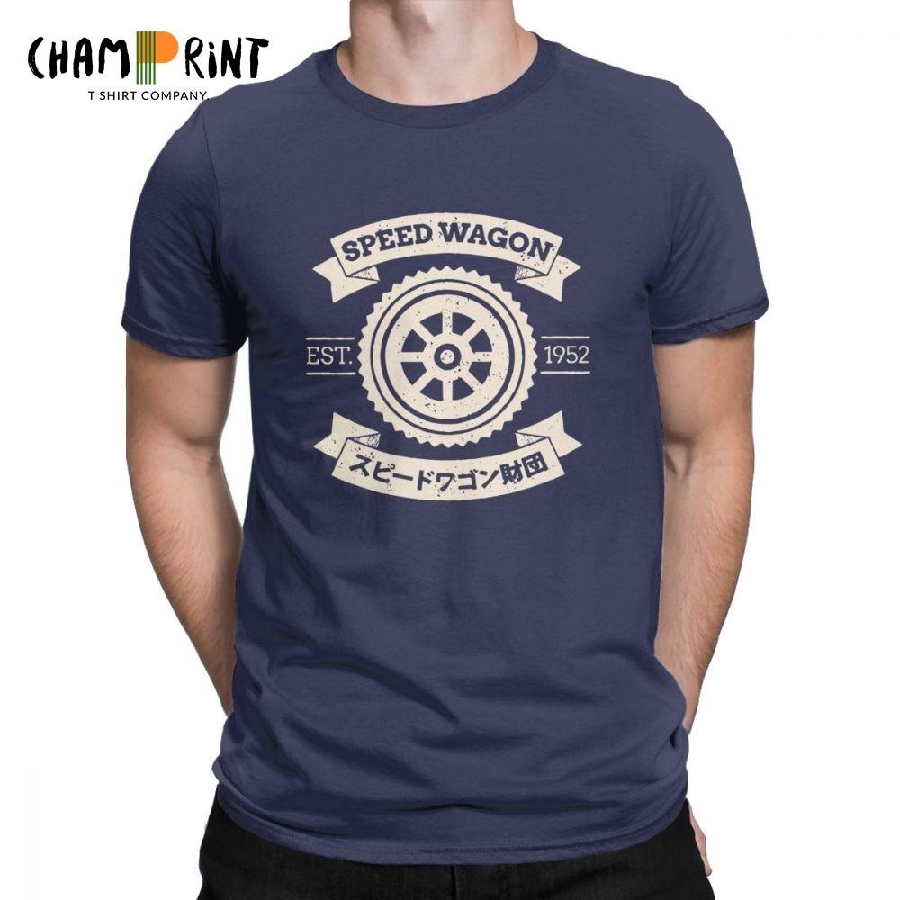 Men's SPW Speed Wagon Foundation T-Shirt Jojos Bizarre Adventure Novelty O Neck Short Sleeve Tops Cotton Tees Plus Size T Shirt