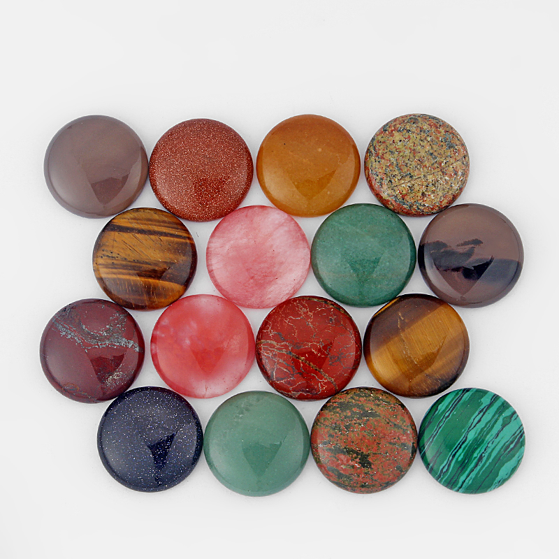 10pcs Flatback Natural Stone Cab Cabochon Bead Round 25mm For Jewelry Making DIY Beads