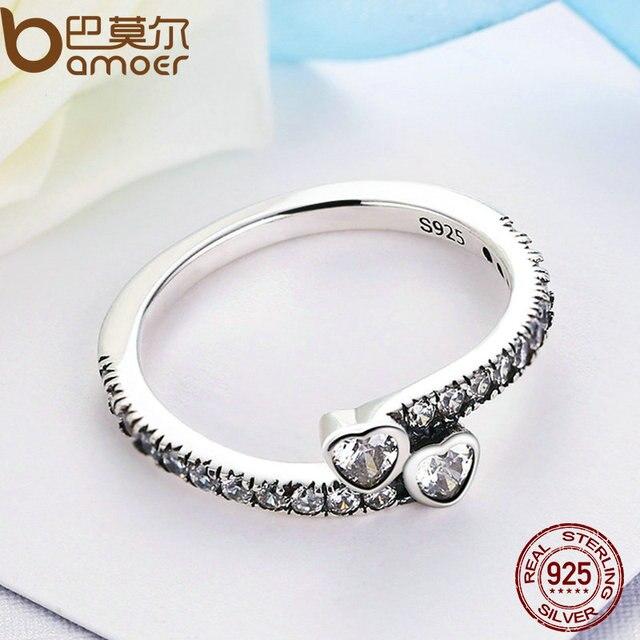 BAMOER Genuine 925 Sterling Silver Sempre Hearts, sereno CZ Anello di Barretta Monili Delle Donne di Nozze PA7614