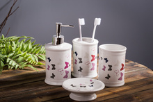 Butterfly Bathroom Four Suit Brushing Gargle Cup Ceramic