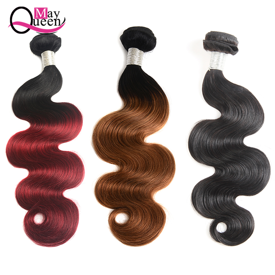 May Queen Hair Ombre Brazilian Hair Body Wave Bundles T1B/99J Remy Human Hair Weave 1 Piece 8-26inch Can Mix Any Length