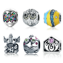 Genuine 925 Sterling Silver Colourful Easter Egg Cute Owl Lovely House Beads fit Charm Bracelets for Women Jewelry Gift