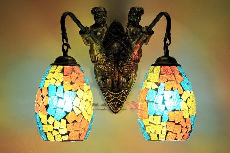 light blue glass wall lights mermaid wall lamp retro pastoral living room bedroom colorful hone decoration lighting ZA