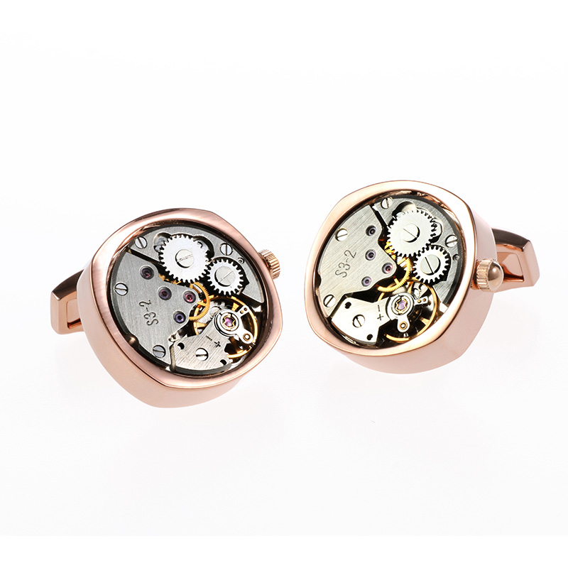 2016 Hot Sale Non Functional Watch Movement Cufflinks Round four corner french style cuff links for